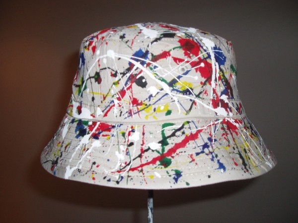 ORIGINAL INDIVIDUALLY HAND PAINTED RENI STYLE BUCKET HAT WORN BY IAN BROWN  AT THE STONE ROSES PARIS GIG 898d358d933